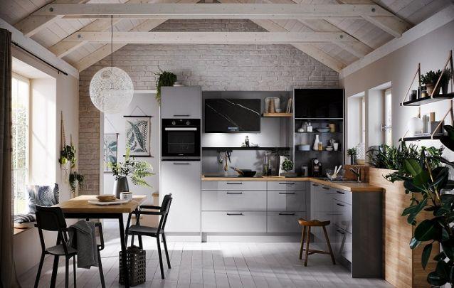 Cozinha planejada em L com estilo escandinavo