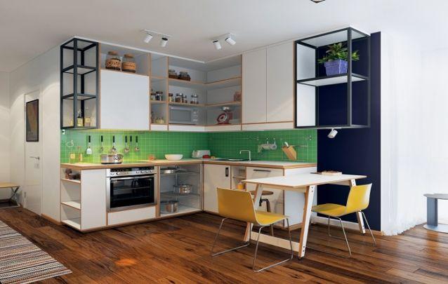 Uma pequena e despojada cozinha planejada em L