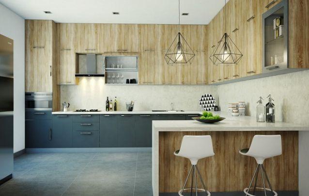 Cozinha planejada em L com estilo escandinavo, pra lá de contemporânea