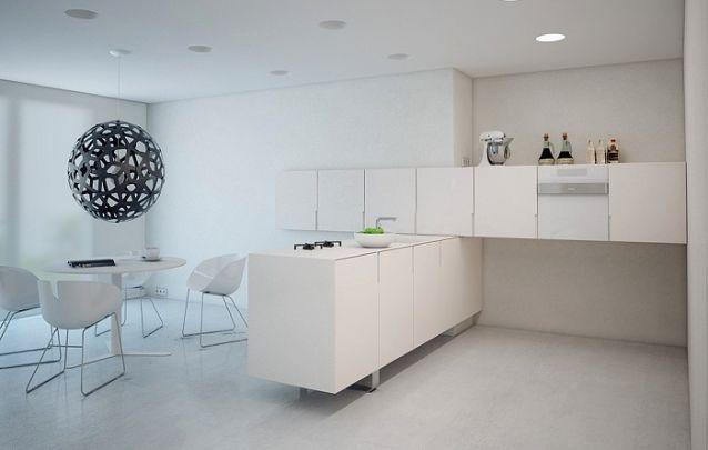 Cozinha em L com um design inusitado e minimalista