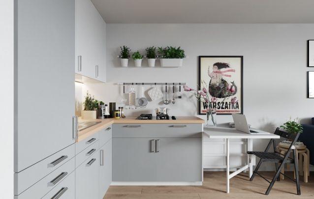 Pequena e graciosa cozinha planejada em L