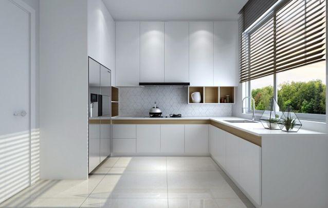 O branco é sempre uma opção segura para compor a sua cozinha planejada