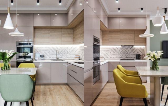 Cozinha planejada em L, com acabamento em nude brilhante e detalhes amadeirados