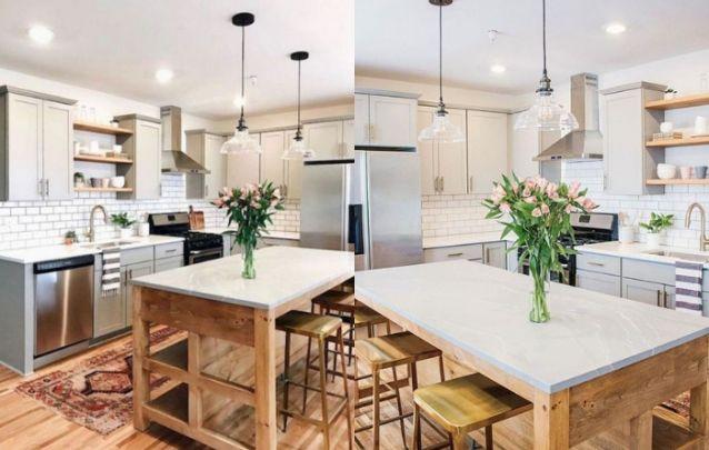 Uma linda cozinha em L moderna e minimalista para inspirar
