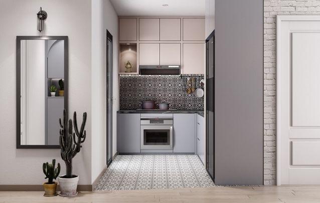 Vintage define o estilo utilizado nesta cozinha planejada em L