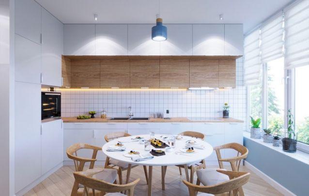 Rosa e azul, uma combinação retrô para esta cozinha planejada