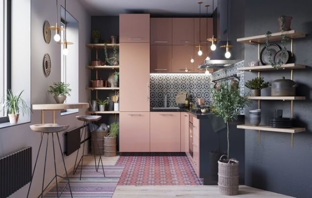 Rose, cinza e dourado, uma combinação glamorosa para esta cozinha planejada em L