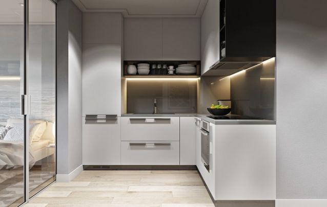 Inspiração de cozinha planejada em L para um pequeno apartamento