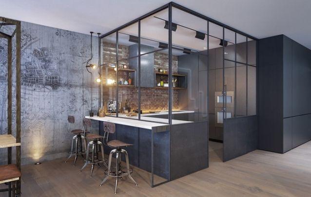 Cozinha planejada em L contemporânea, com toques irreverentes e uma pegada mais masculina