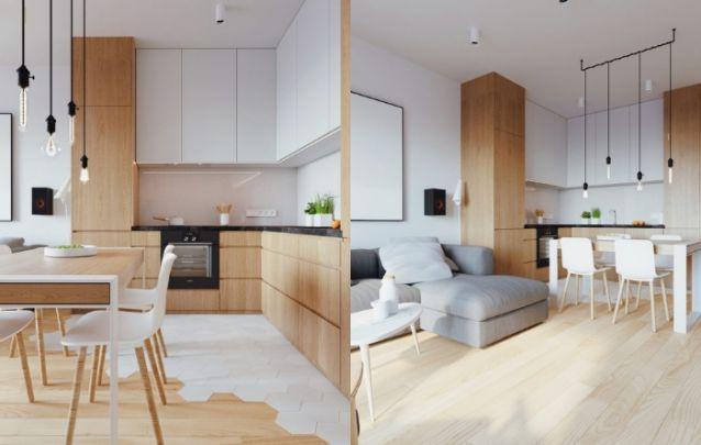 Cozinha pequena planejada para harmonizar com os demais ambientes integrados