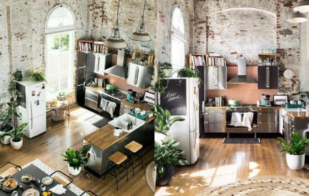 Cozinha planejada em L com estilo industrial