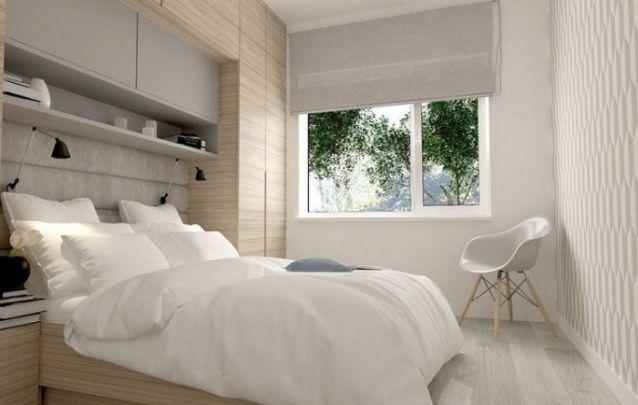 Em um quarto pequeno você pode utilizar o espaço vertical para criar mais armazenamento