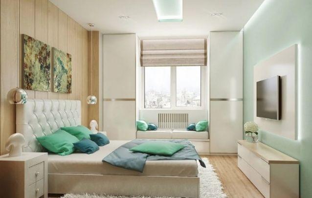 Pequeno quarto feminino delicado em tons de branco e menta