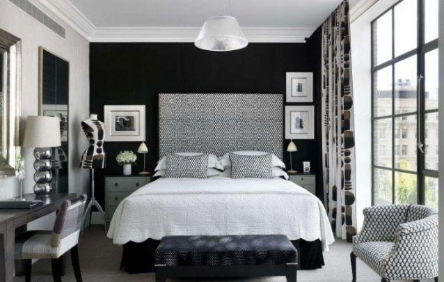 Preto e branco, uma combinação sem erros, até mesmo para um quarto feminino pequeno