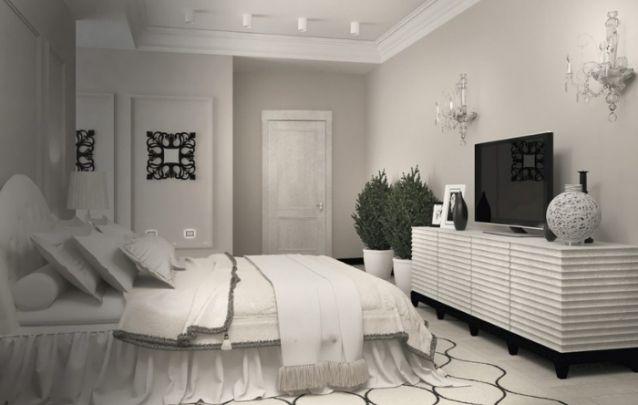 Sofisticado quarto com branco predominante