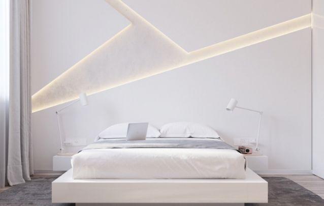 Que tal está parede de destaque neste quarto minimalista? Um luxo!