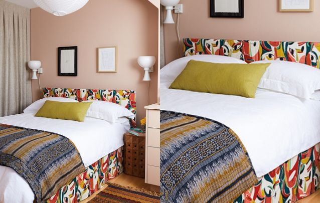 A cama colorida traz um toque descontraído para dentro do quarto