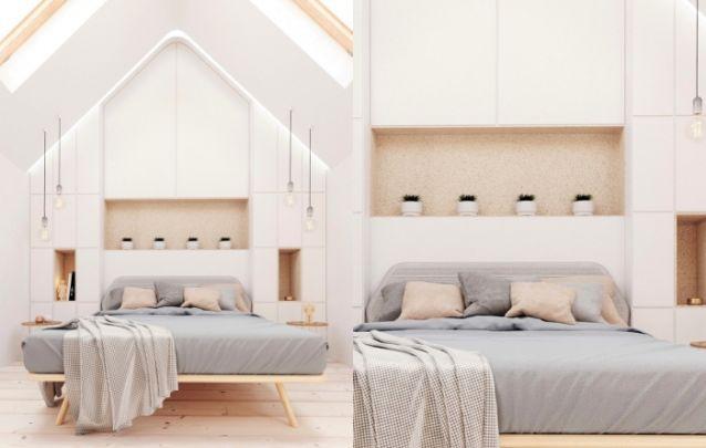 O armário atrás da cama serve tanto para armazenamento quanto como cabeceira