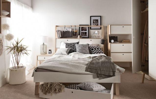 Para este pequeno quarto feminino o estilo escolhido para a decoração foi o escandinavo