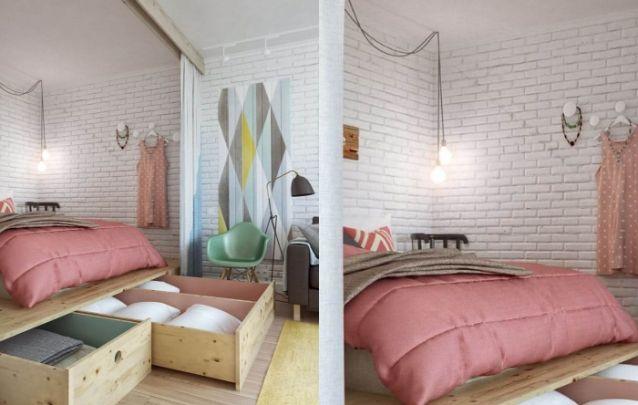 Uma ótima solução para criar um quarto com espaço para armazenamento em um ambiente integrado