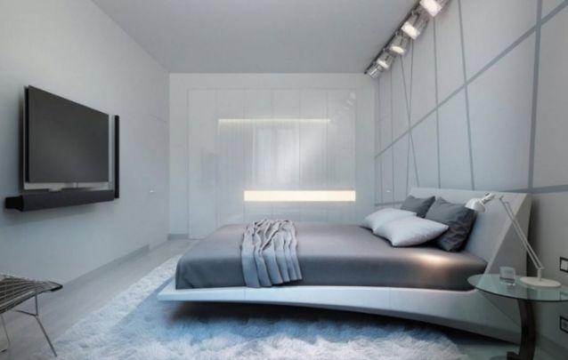 Quarto pequeno e estreito com uma decoração minimalista moderna