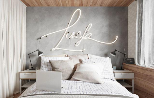 Letreiros em neon estão em alta nas decorações de interiores, inclusive nos quartos