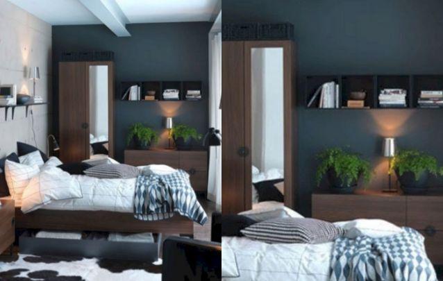 Um pequeno quarto para quem prefere móveis em tons escuros