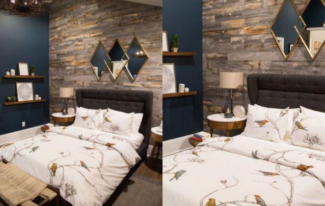 A parede de destaque atrás da cama e os móveis em madeira trazem nuances rústicas para este quarto moderno