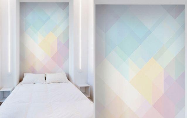 Papel de parede delicado e atual para a parte de trás da cama