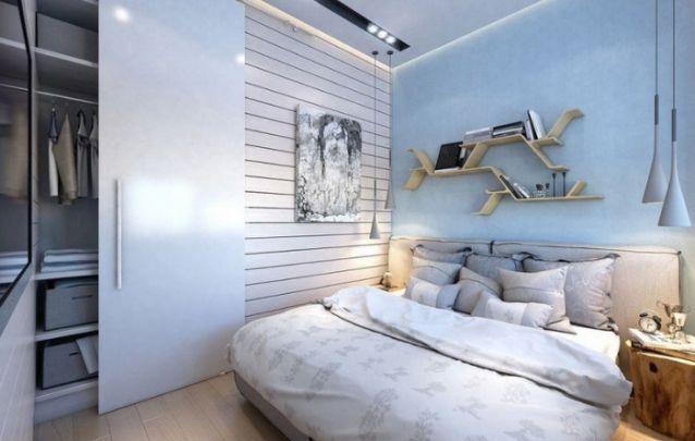 O azul traz tranquilidade para dentro do quarto, portanto é uma ótima opção de cor para este ambiente