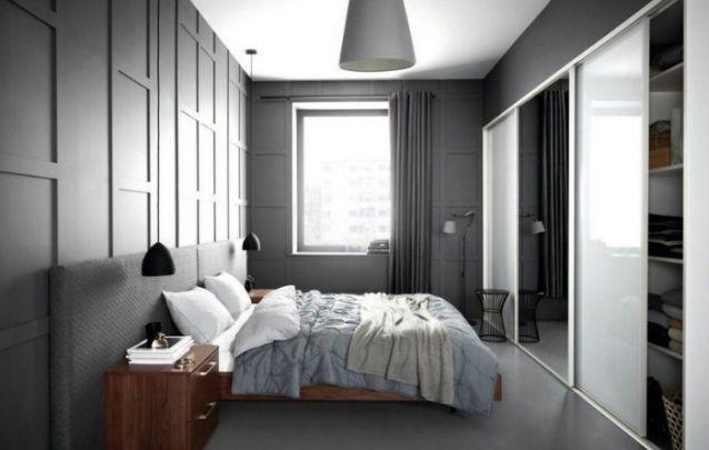 Pequeno quarto em branco e cinza