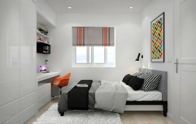 Pequeno quarto com escrivaninha embutida ao armário