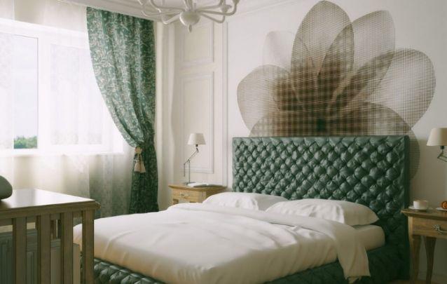 Linda combinação entre verde e floral para este quarto feminino