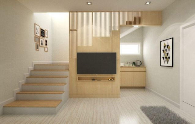 Esta é uma ótima opção dentre os modelos de painel disponíveis para um apartamento ao estilo loft, a parte superior vazada cria uma espécie de disfarce para a escada, além de trazer um toque a mais para o design da peça.
