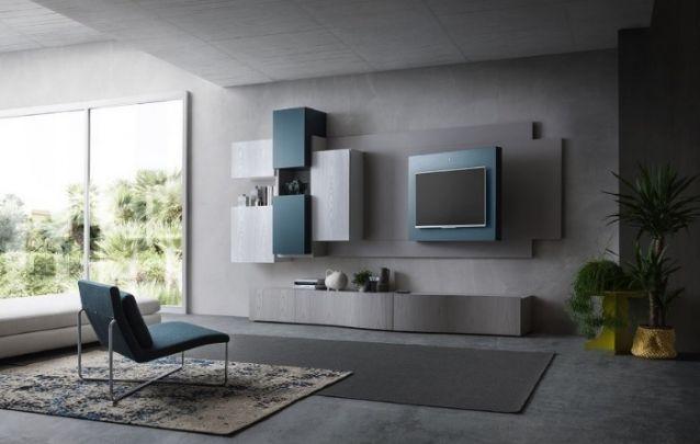 Painel de tv moderno, com uma bela combinação de cores neutra e elegante, com um design assimétrico para compor uma sala de estar contemporânea e sofisticada. Sem contar com a sensação de amplitude.