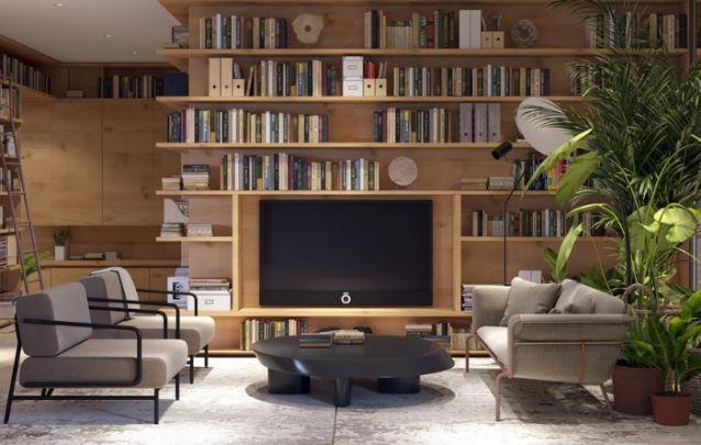 Até mesmo um amante da leitura gosta de assistir um pouco de televisão de vez em quando, por isto, este painel de tv foi embutido diretamente na estante de livros. Aliando design e praticidade a quem lê.