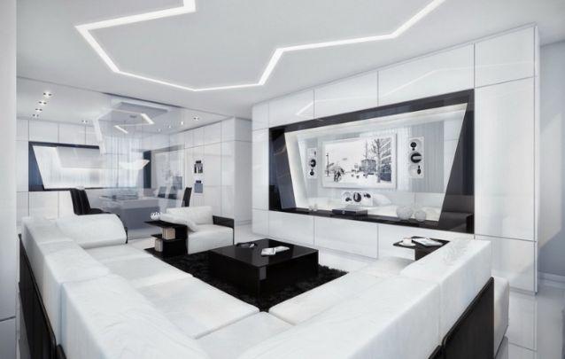 A sala de estar com visual futurista conta com um painel de tv em acrílico, onde a transparência faz a ligação entre os diferentes cômodos. A sensação de amplitude é incrivel!