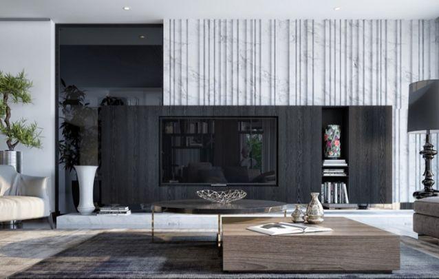 O painel da cor preto é muito valorizado pela parede de mármore texturizada, e o espelho escuro, que trazem profundidade ao design. A cor preta também tira a sensação de ambiente cheio.
