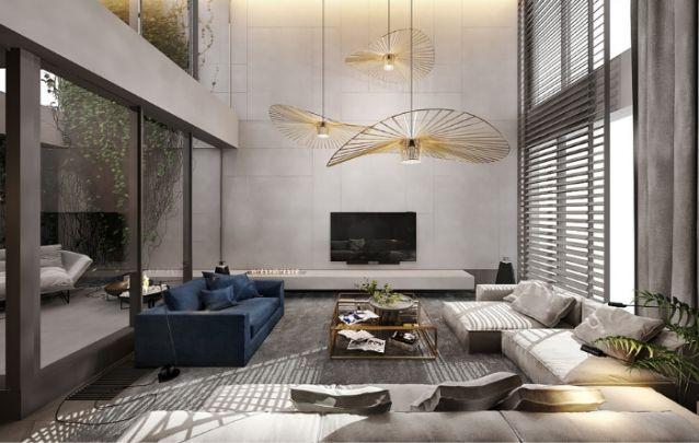 Uma sala de estar ampla e imponente, necessita de um modelo de painel de tv que acompanhe o design suntuoso escolhido para o décor. É indicado para ambientes menores.