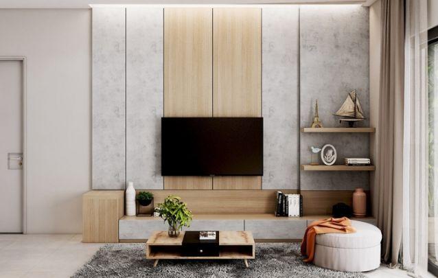 O uso de dois materiais contrastantes cria um visual interessante na sala de estar. E para complementar o ambiente, aposte em prateleiras e algumas unidades para armazenamento.