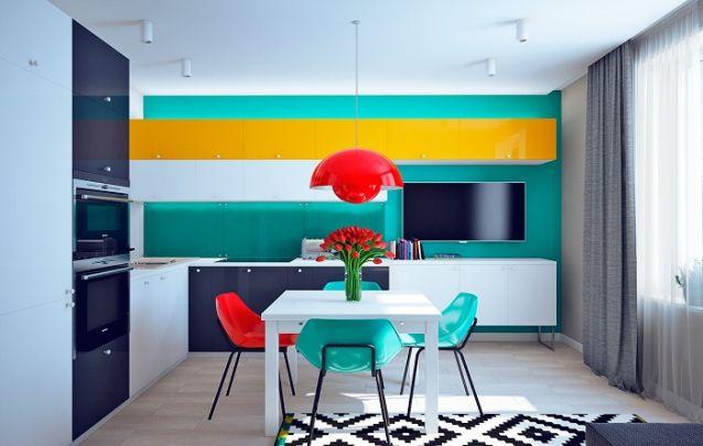 Para acomodar uma televisão na cozinha, o ideal é apostar nos painéis, pois assim não é necessário apoiar o eletrônico em uma bancada, liberando mais espaço sobre ela. Fora o excelente design que o mesmo trouxe a cozinha.