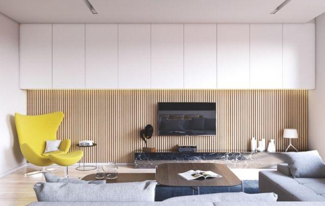 Um painel de tv clean e equilibrado, que conta com espaço para armazenamento na parte superior, com a intenção de não desviar o foco do eletrônico. Para ambientes grandes, é perfeito!