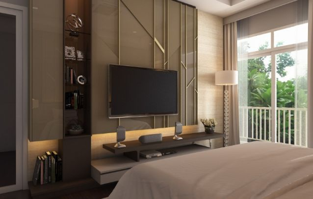 O painel para tv planejado com acabamento em laca brilhante e linhas douradas, traz requinte e transforma o cômodo em um ambiente refinado. E não deixe o ambiente carregado.
