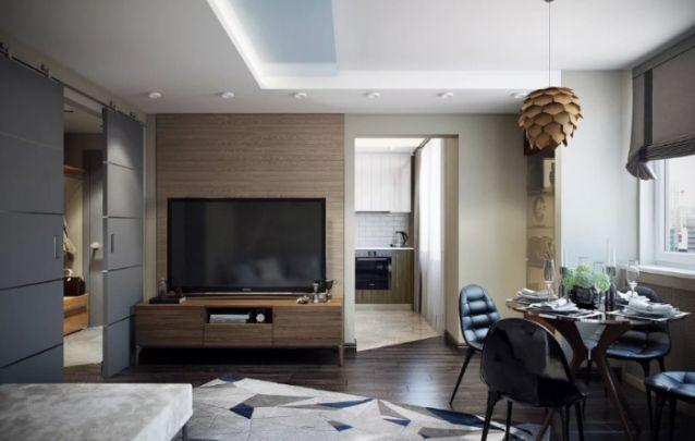 O ambiente integrado moderno, conta com um modelo de painel para tv tradicional que mantém a simplicidade no design. Sem contar com a praticidade que o mesmo trás ao cômodo.
