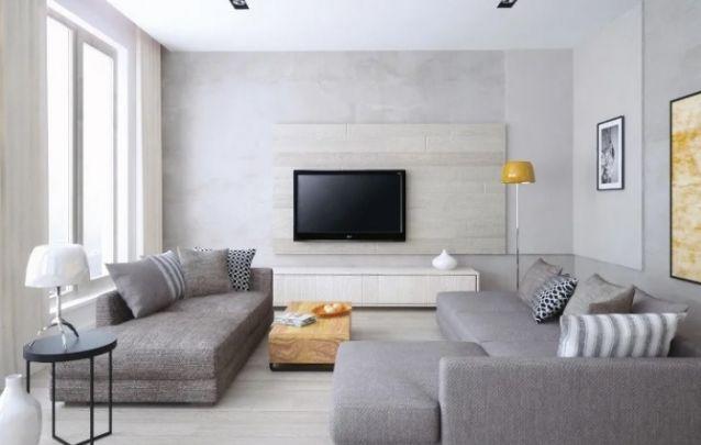 O painel escolhido segue uma tonalidade clara, para não se destacar na parede de cimento queimado, pois assim aumenta a sensação de amplitude no pequeno cômodo. Perfeito para ambientes menores.