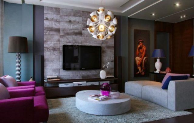 O revestimento mesclado lembra a textura de pedras, ele é sofisticado e deixa a decoração da sala de estar ainda mais requintada. Dando também um toque de antiguidade ao ambiente.