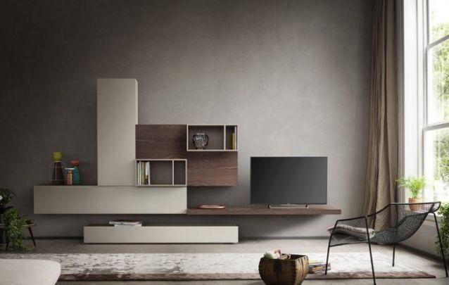 As unidades assimétricas criam um design despojado e muito glamuroso, mas as cores neutras escolhidas para este cômodo, deixam o móvel com traços bem tradicionais.