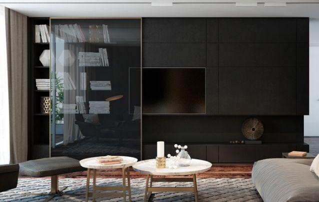 Este móvel conta com um painel para tv, uma estante para livros e unidades para armazenamento. O destaque da peça é a porta de correr feita em vidro, que pode ser movida lateralmente para mostrar ou ocultar, mesmo que parcialmente, certas áreas do móvel.