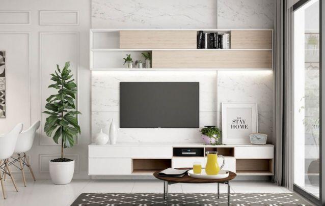 Revestimentos que imitam o mármore estão cada vez mais presentes em todas as decorações, pois trazem muita sofisticação ao ambiente, sem carregar demais o design, como na foto.