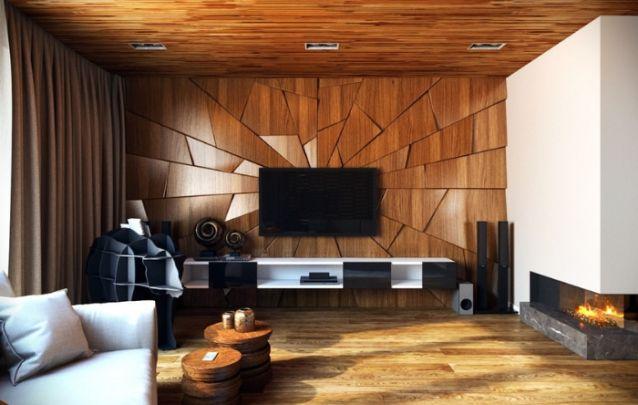 Este painel que cobre toda a parede foi criado para imitar cacos de vidro, e o posicionamento de cada placa de madeira foi pensado para refletir a luz e criar um efeito ainda mais marcante.